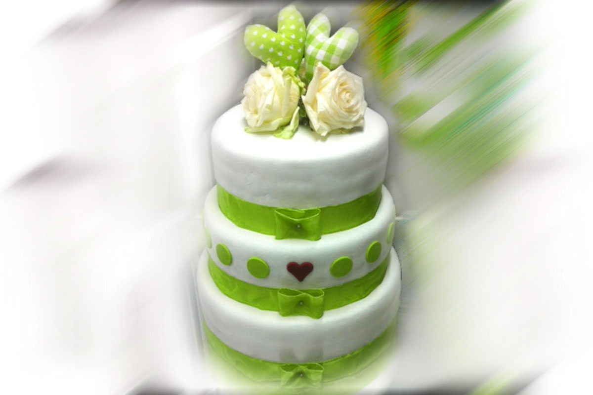 Hochzeitstorte, quadratisch/zweistöckig